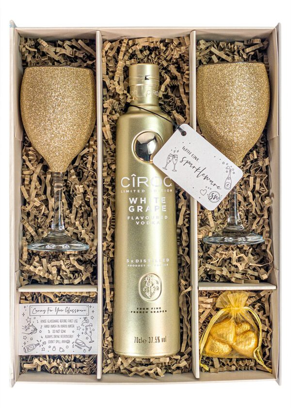 Ciroc White Grape Flavoured Vodka | 70cl | Gold | Sparkleware Gift Set | Keico Drinks