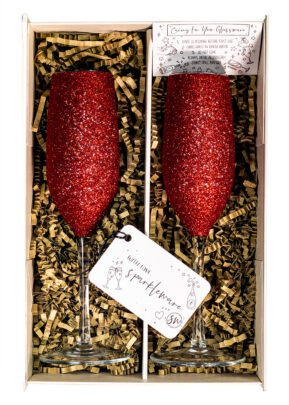red Champagne flutes | Sparkleware gift set