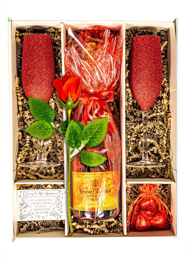 Veuve Clicquot Champagne 75cl | Sparkleware Gift Set | Chocolates & Rose | Keico Drinks