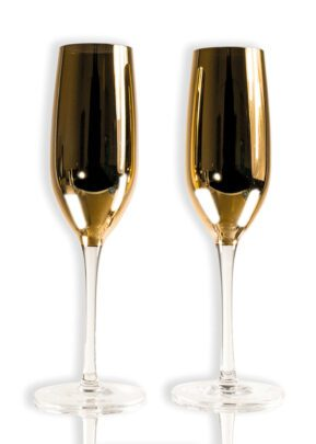 Sparkleware® Metallic Gold Glass Champagne Flutes | Keico Drinks