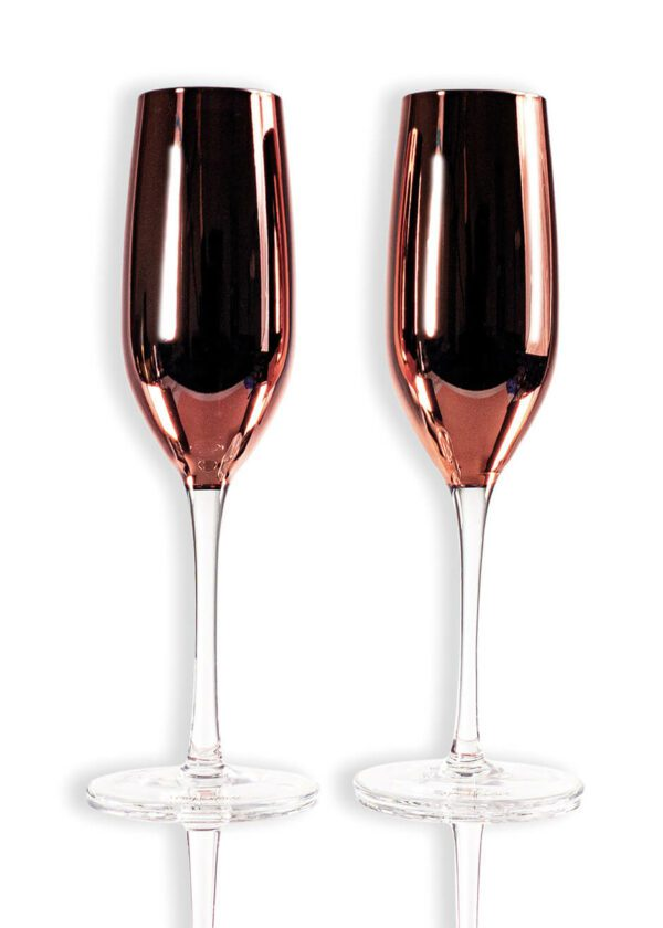 Sparkleware® Metallic Pink Glass Champagne Glass Flutes | Keico Drinks