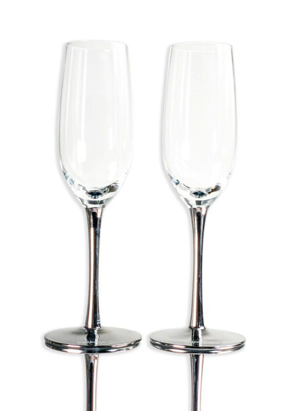 Sparkleware® Metallic Silver Champagne Flute Glasses | Keico Drinks