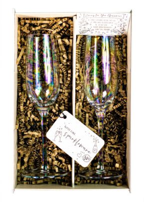 Sparkleware® Iridescent Champagne Flutes | Keico Drinks
