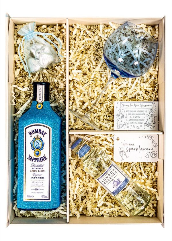 Bombay Sapphire | 70cl Dry Gin | Blue | Sparkleware Gift Set | Keico Drinks