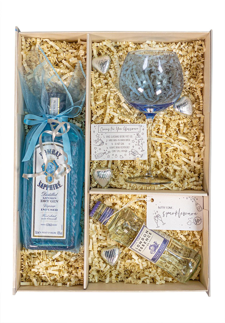 Bombay Sapphire 70cl Gin | With Tonic & Gin Glass | Sparkleware Gift Set | KeiCo Drinks