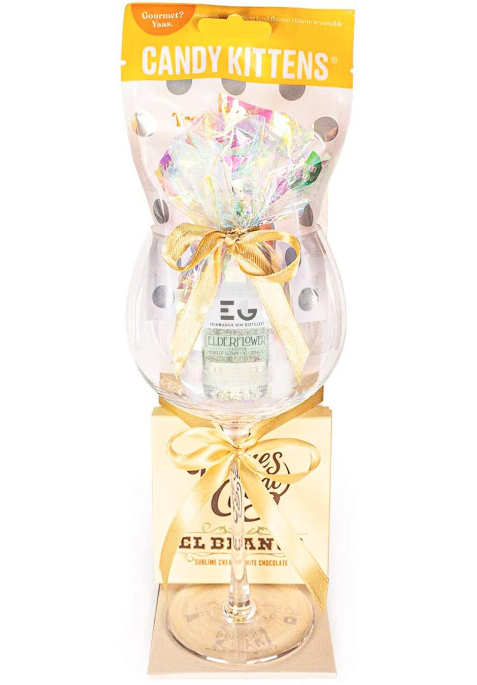 Elderflower Edinburgh 5cl Gin | Candy Kittens | Willies Cacao | Sparkleware Gift Set | KeiCo Drinks